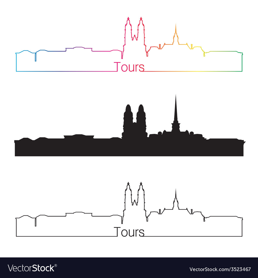 Tours skyline linear style with rainbow vector