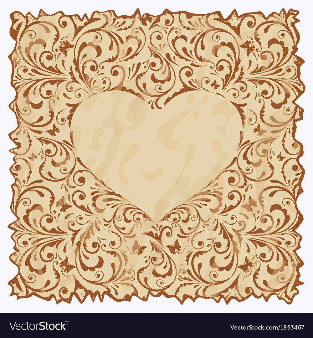 Vintage postcard with heart vector | Price: 1 Credit (USD $1)