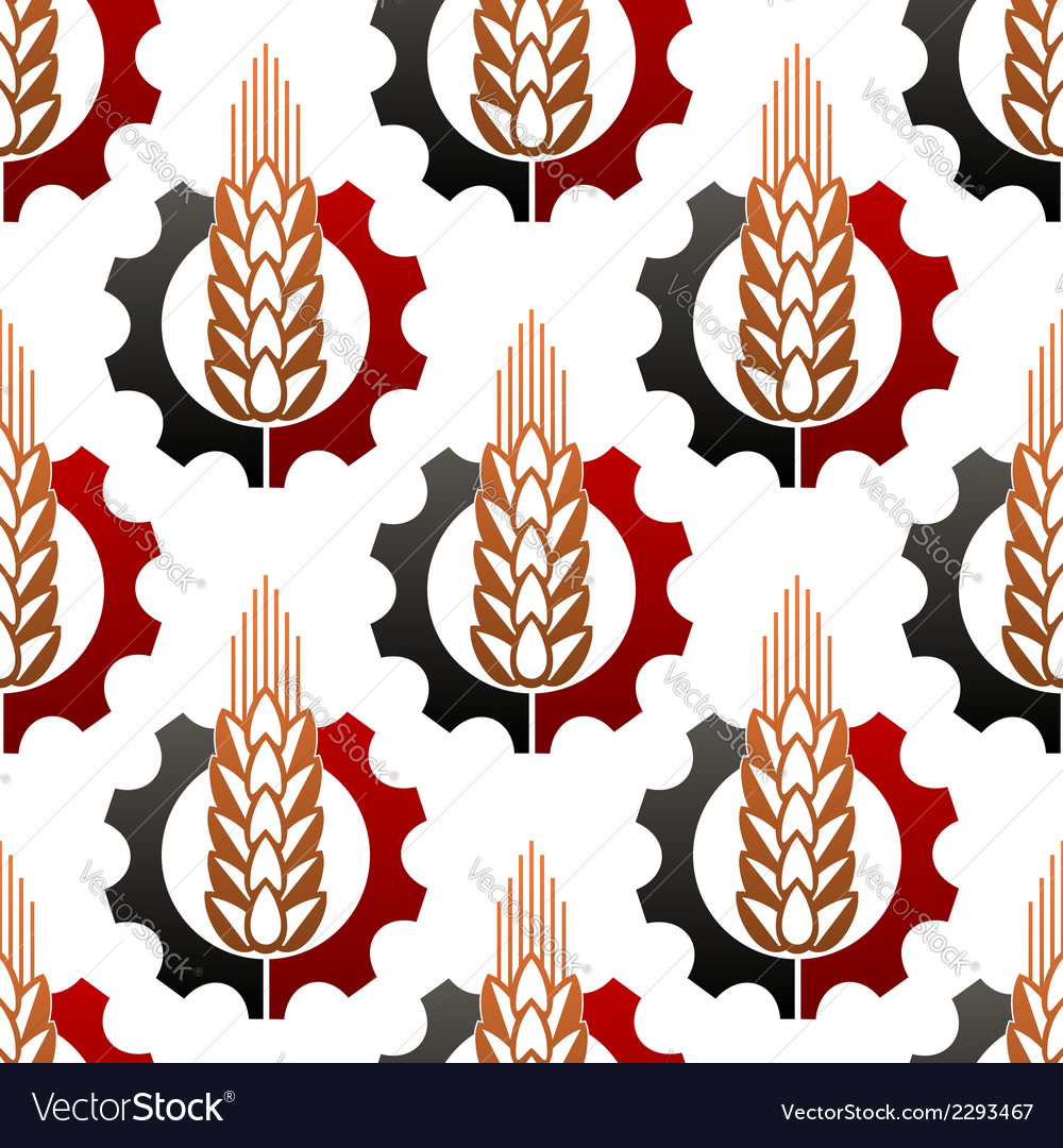 Wheat and a cog wheel seamless pattern vector | Price: 1 Credit (USD $1)