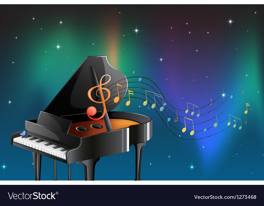 A black piano with musical notes vector | Price: 1 Credit (USD $1)