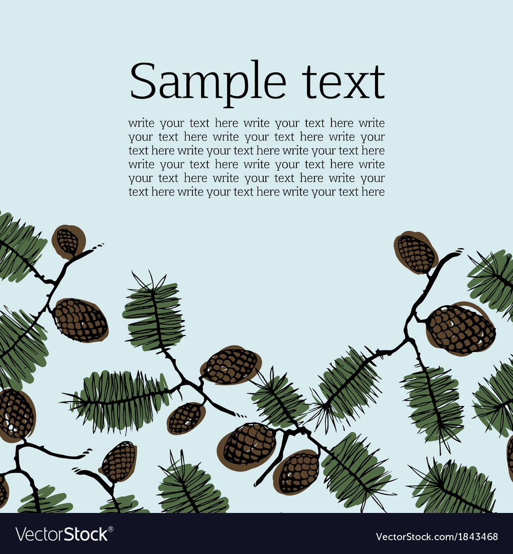 Background frame for text with fir cone and twig vector | Price: 1 Credit (USD $1)