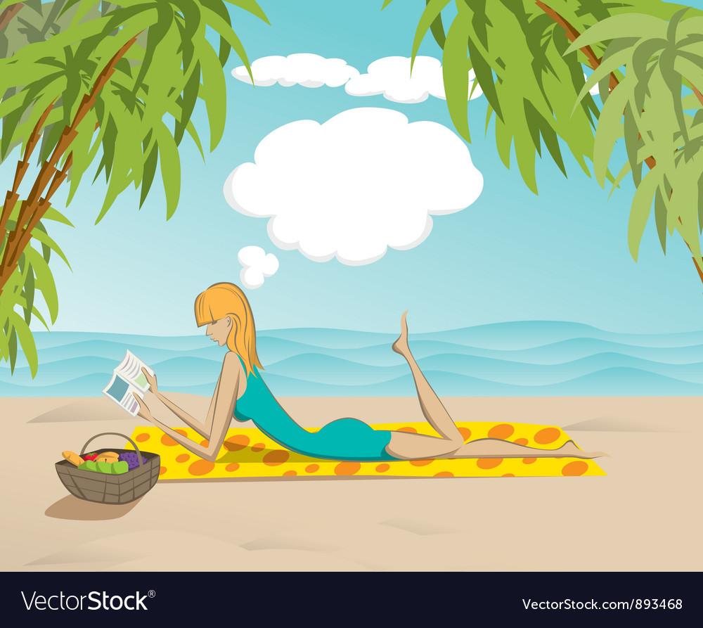 Beach woman vector   Price: 3 Credit (USD $3)