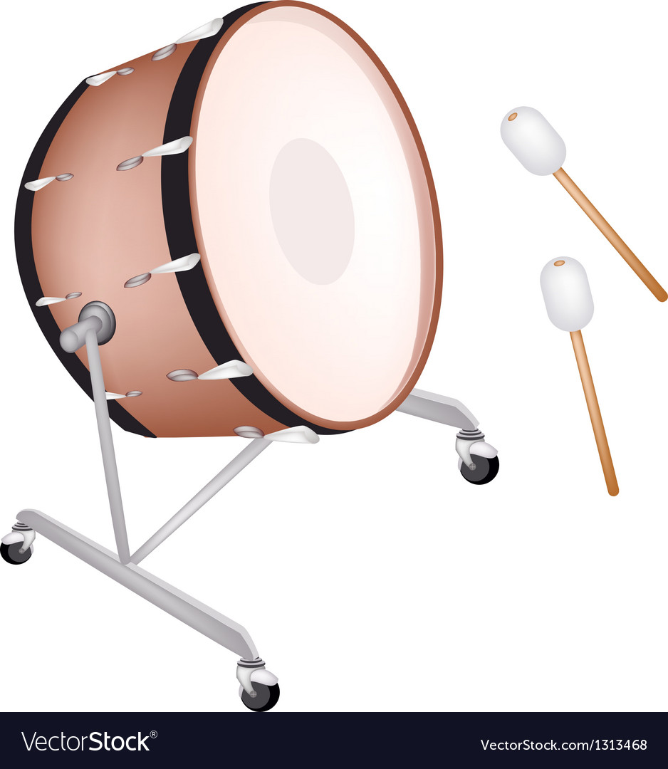 Beautiful classical bass drum on white background vector | Price: 1 Credit (USD $1)