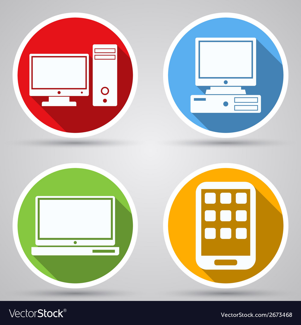Computers flat icons vector | Price: 1 Credit (USD $1)