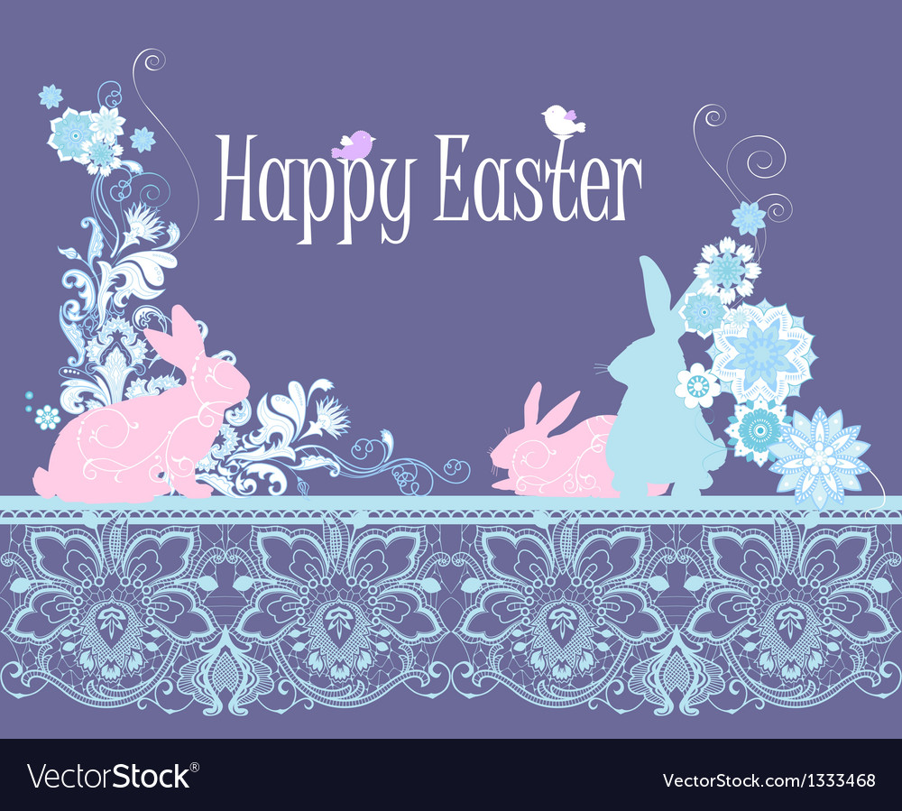 Floral happy easter card vector | Price: 1 Credit (USD $1)
