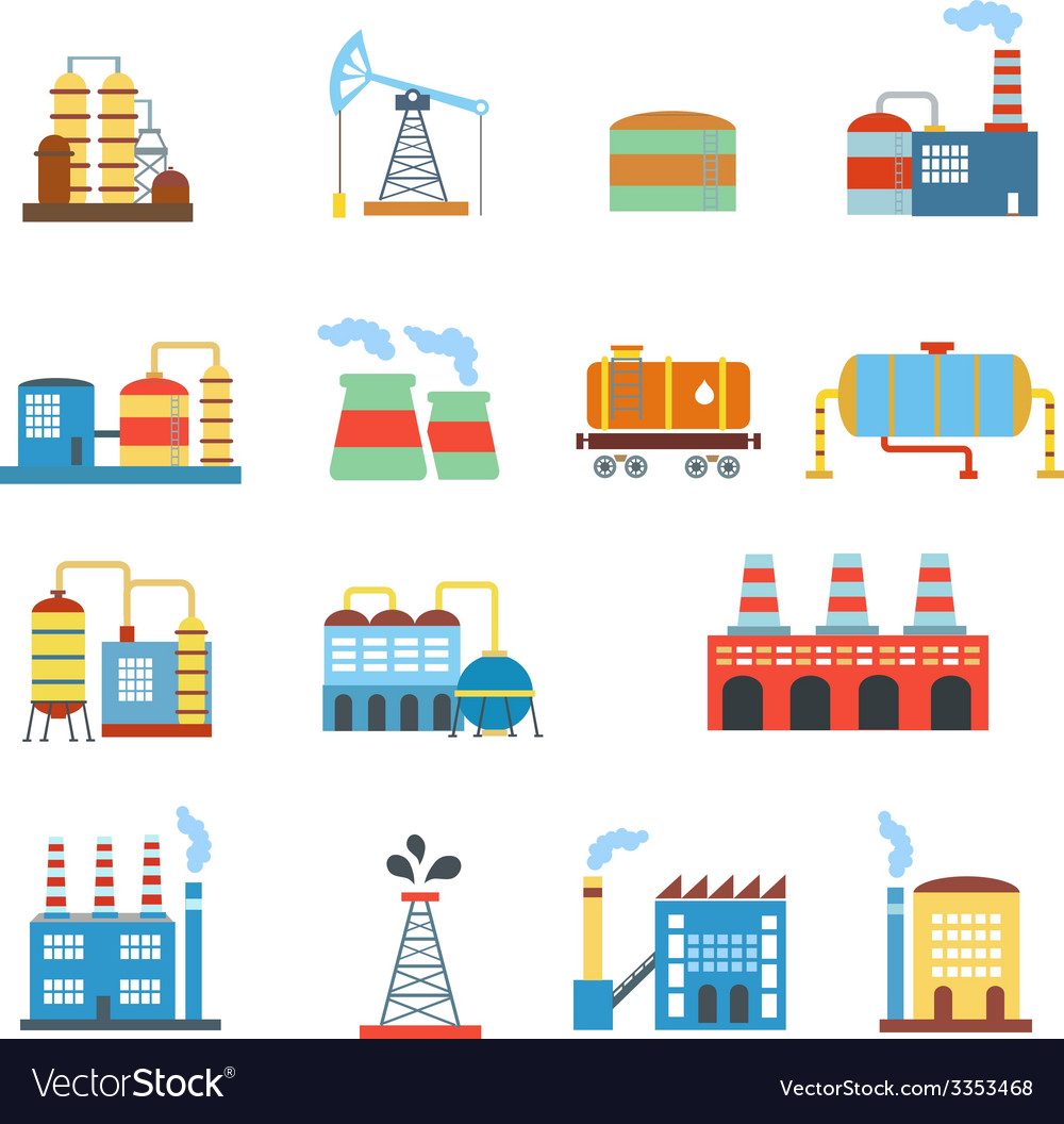 Industrial building factories and plants icons set vector | Price: 1 Credit (USD $1)