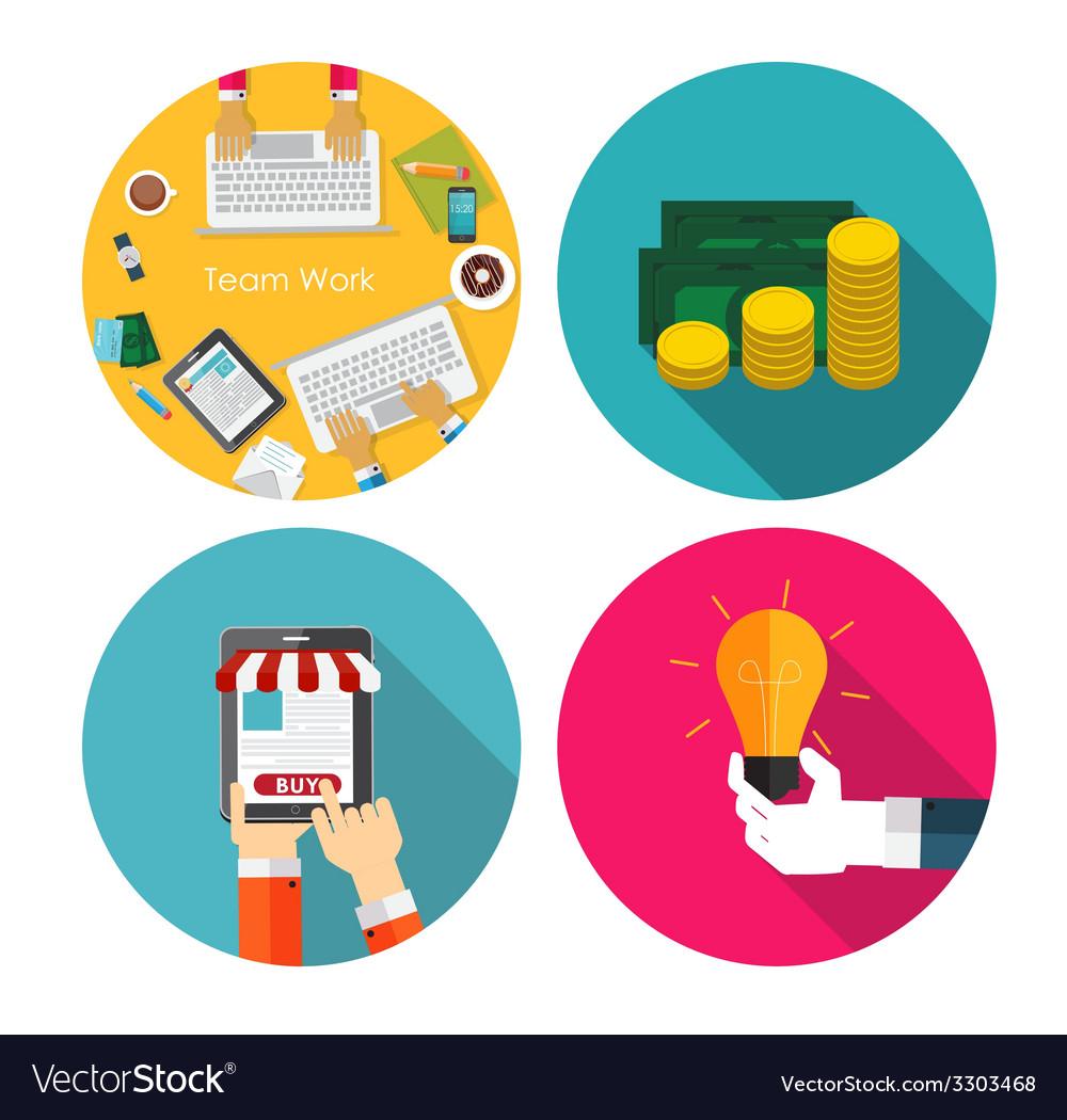 Money team work idea onlineshopping flat design vector   Price: 1 Credit (USD $1)