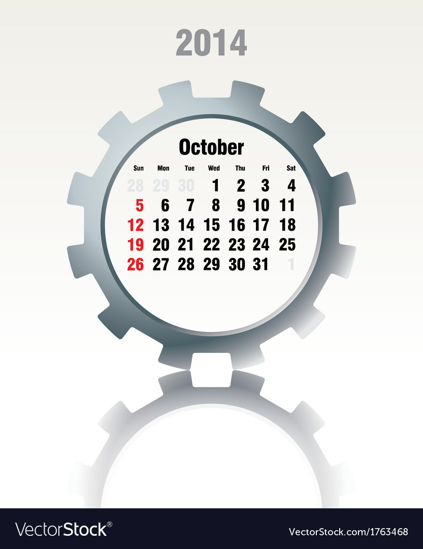 October 2014 - calendar vector | Price: 1 Credit (USD $1)