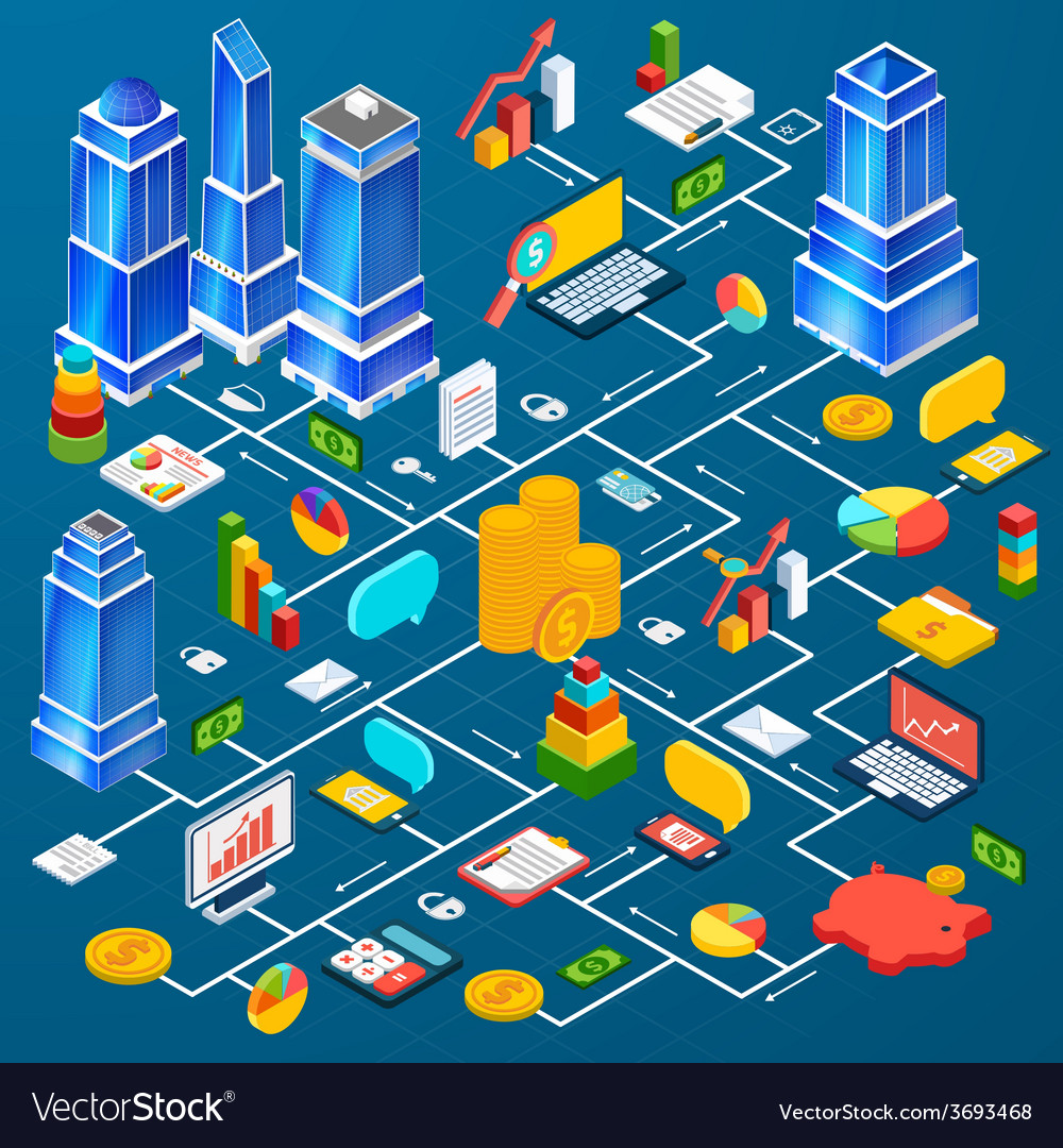 Office city infrastructure planning infographic vector | Price: 1 Credit (USD $1)