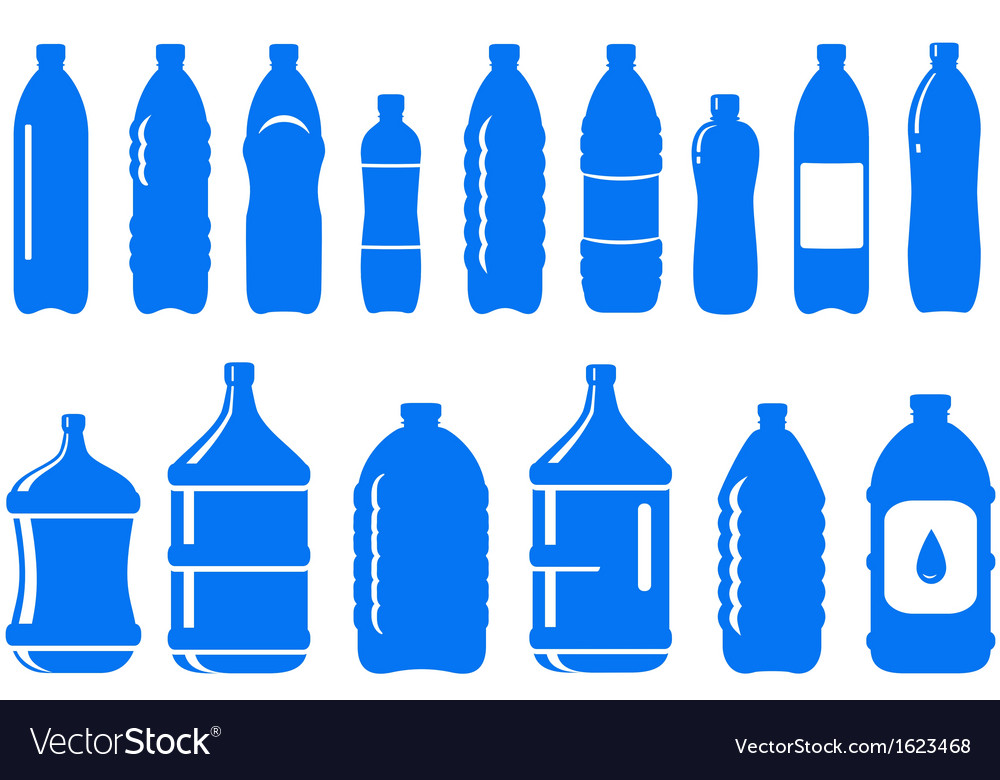 Set of isolated water bottle icon vector | Price: 1 Credit (USD $1)