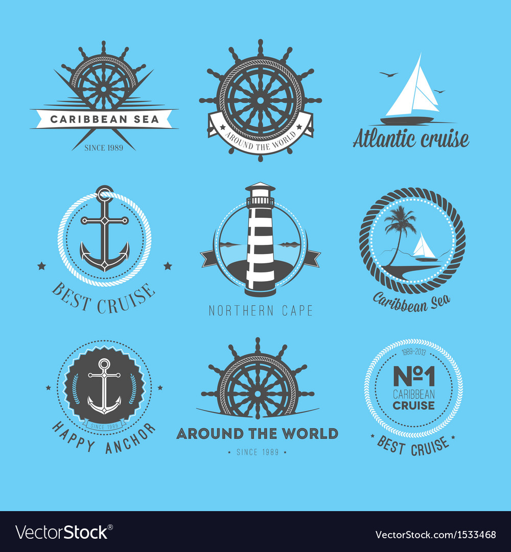 Set of vintage nautical labels icons and design e vector | Price: 1 Credit (USD $1)