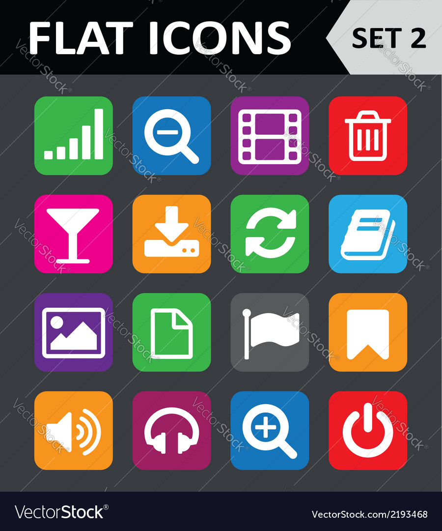 Universal colorful flat icons set 2 vector | Price: 1 Credit (USD $1)