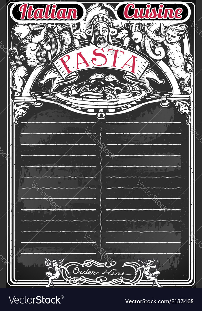 Vintage blackboard for italian pasta menu vector | Price: 1 Credit (USD $1)