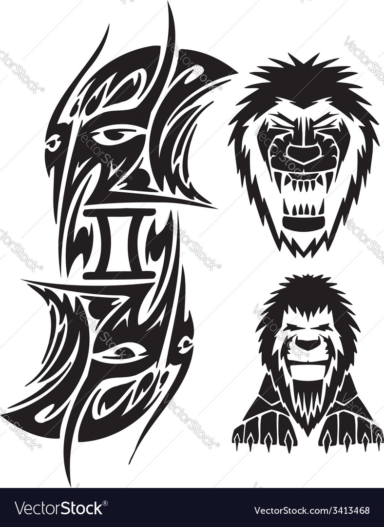 Zodiac signs - lion vinyl-ready set vector | Price: 1 Credit (USD $1)