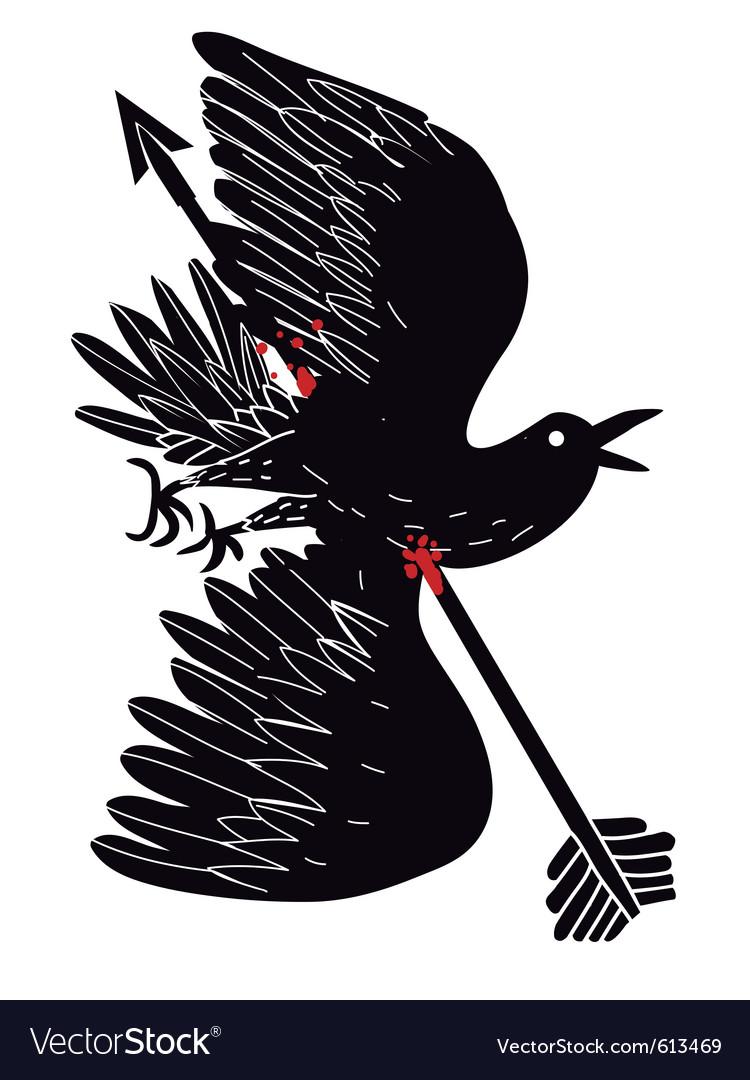 Bird dead by arrow vector | Price: 1 Credit (USD $1)