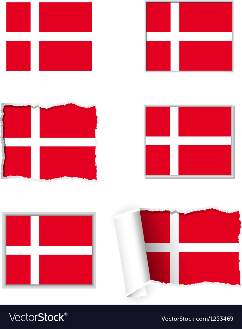 Denmark flag set vector | Price: 1 Credit (USD $1)