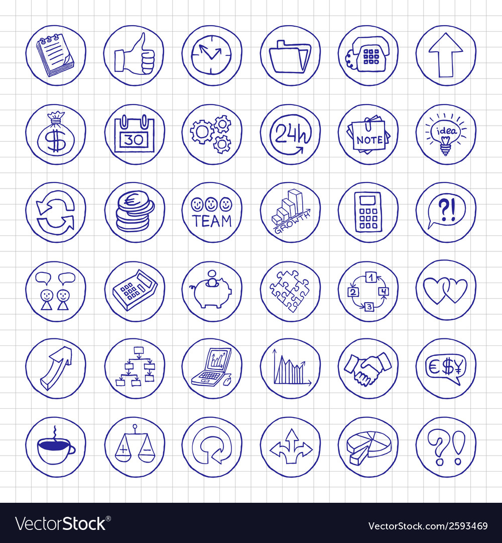 Hand drawn business set of buttons vector | Price: 1 Credit (USD $1)