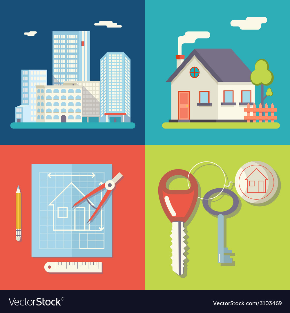 Retro real estate symbols private house vector | Price: 1 Credit (USD $1)