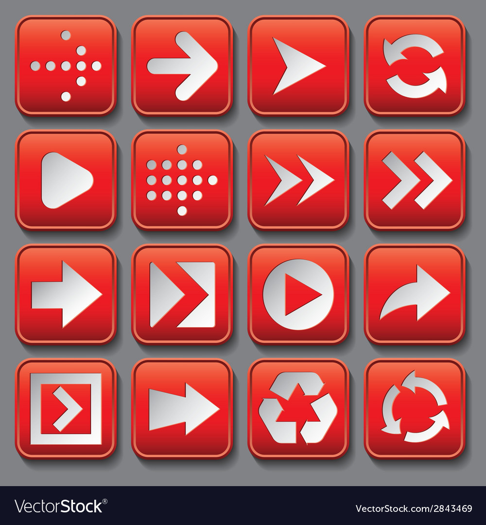 Set of stylized buttons with different arrows vector | Price: 1 Credit (USD $1)