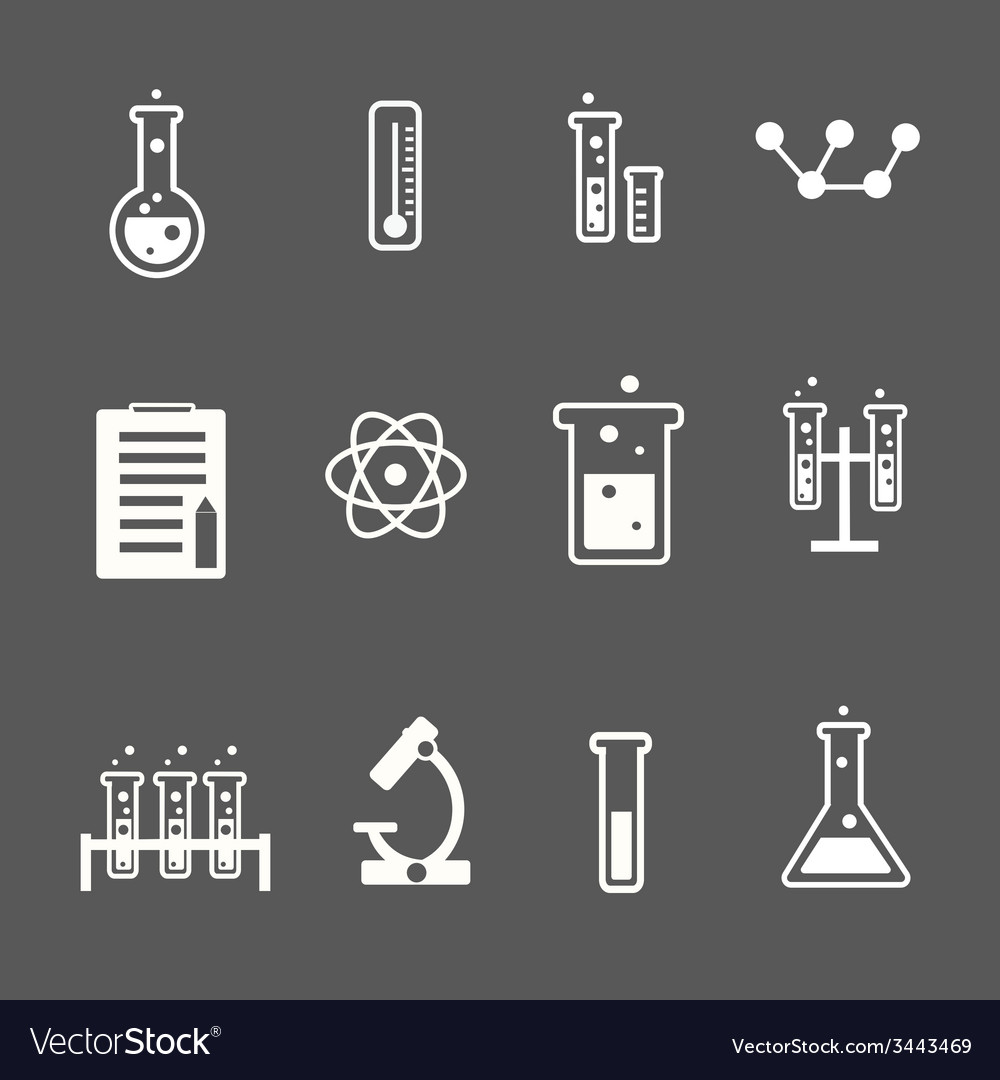 Set of white science and research icons on a grey vector | Price: 1 Credit (USD $1)