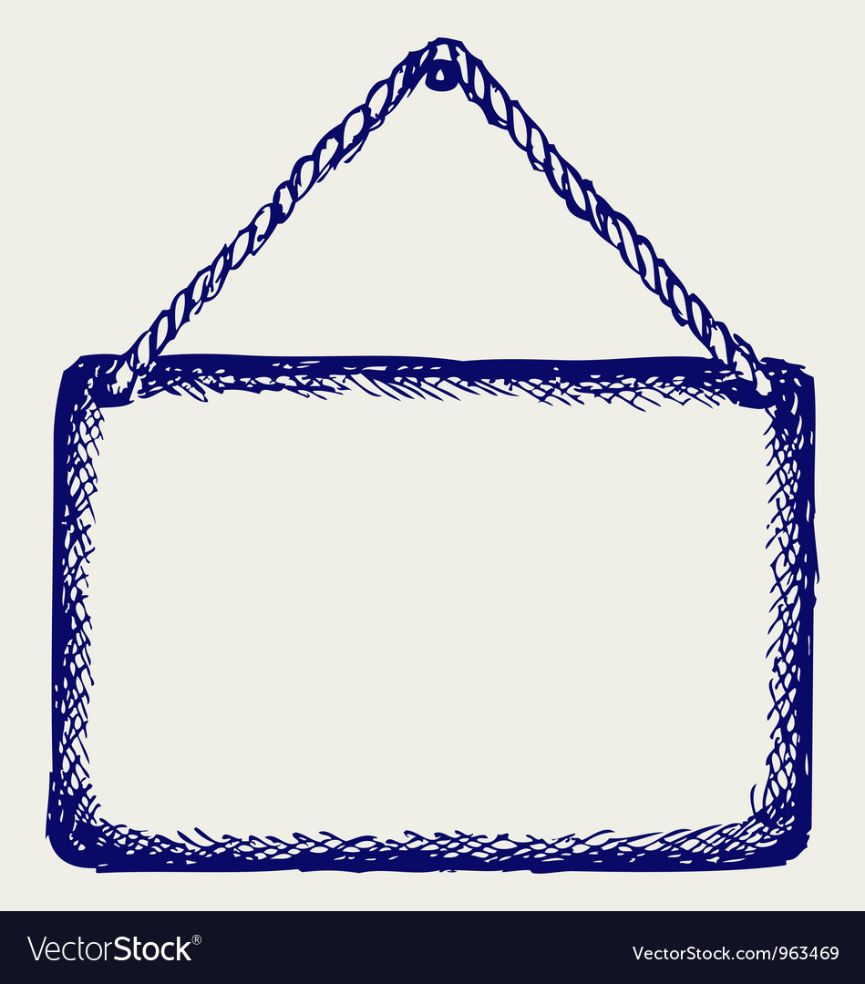 Sign board with rope vector | Price: 1 Credit (USD $1)