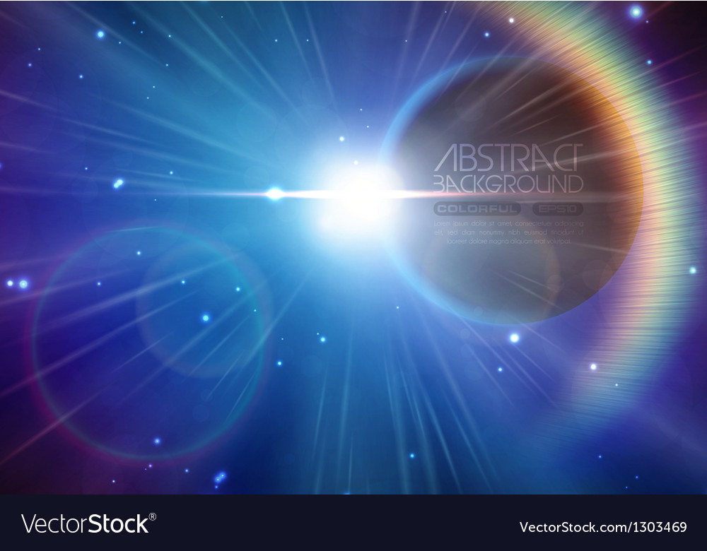 Solar eclipse background with stars and lens flare vector | Price: 3 Credit (USD $3)
