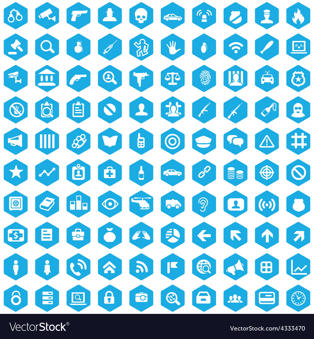 100 crime justice icons vector | Price: 1 Credit (USD $1)