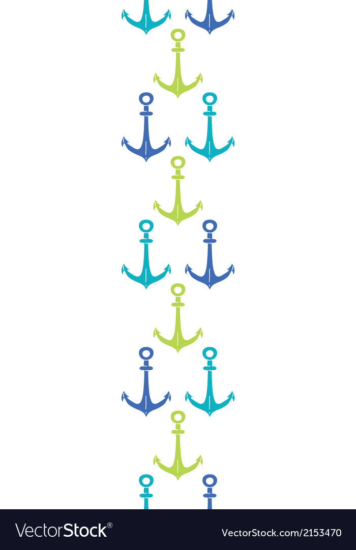 Anchors blue and green vertical seamless pattern vector | Price: 1 Credit (USD $1)