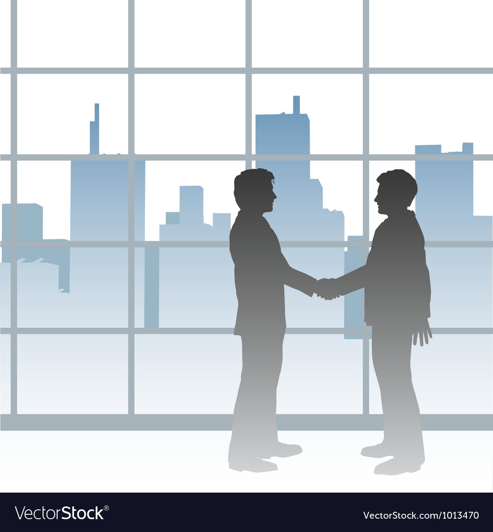 Big city business men deal handshake vector | Price: 1 Credit (USD $1)