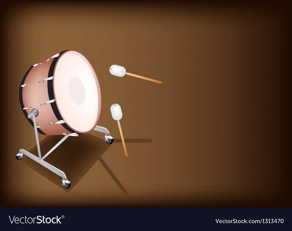 Classical bass drum on dark brown background vector | Price: 1 Credit (USD $1)