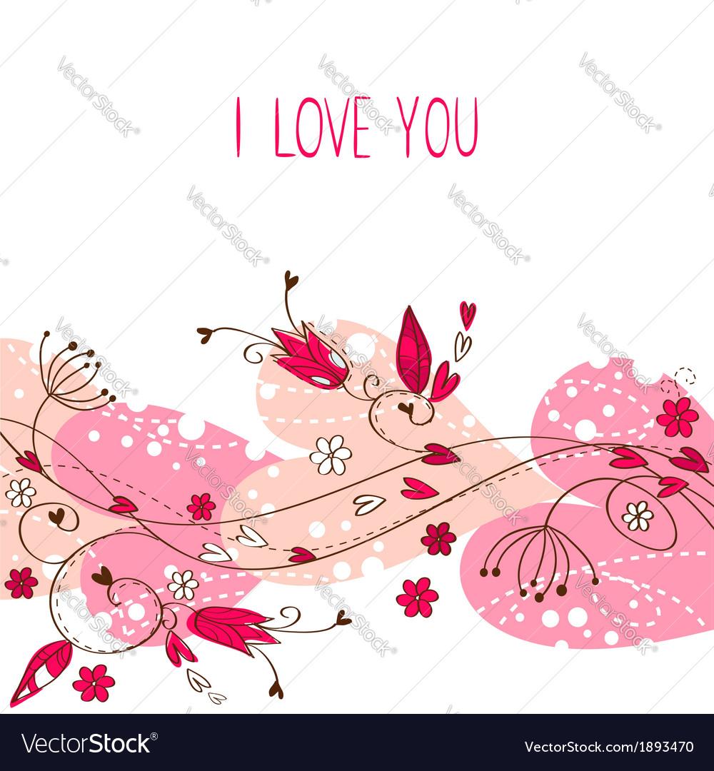 Elegant valentine love floral postcard vector | Price: 1 Credit (USD $1)