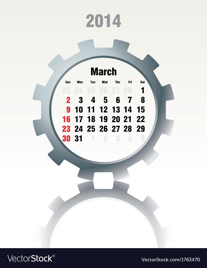March 2014 - calendar vector | Price: 1 Credit (USD $1)