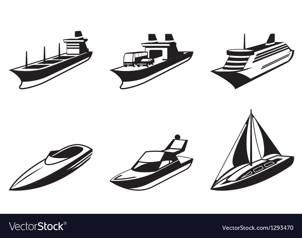 Sea ships and boats in perspective vector | Price: 1 Credit (USD $1)
