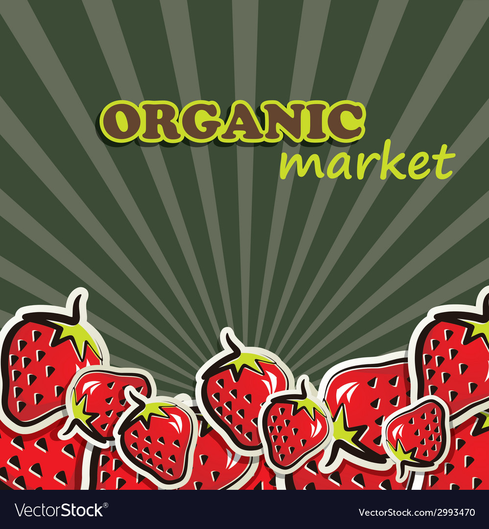 Strawberries organic food concept vector | Price: 1 Credit (USD $1)
