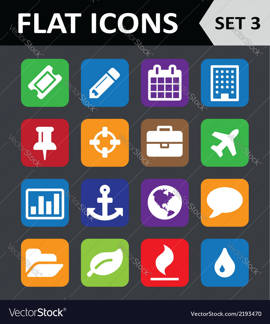 Universal colorful flat icons set 3 vector   Price: 1 Credit (USD $1)