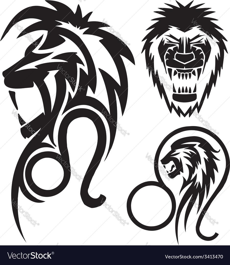 Zodiac signs - lion vinyl-ready set vector | Price: 1 Credit (USD $1)