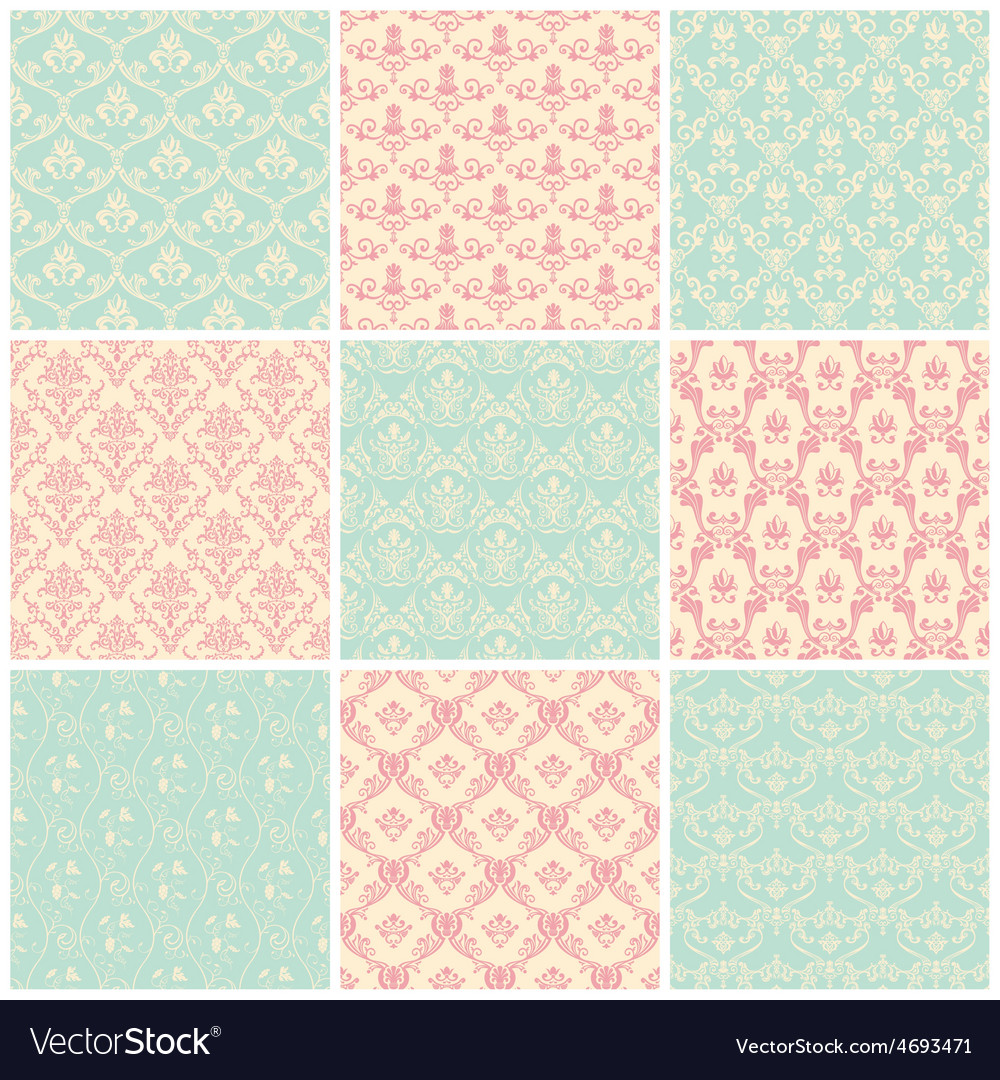 Backgrounds set seamless wallpaper vintage vector | Price: 1 Credit (USD $1)