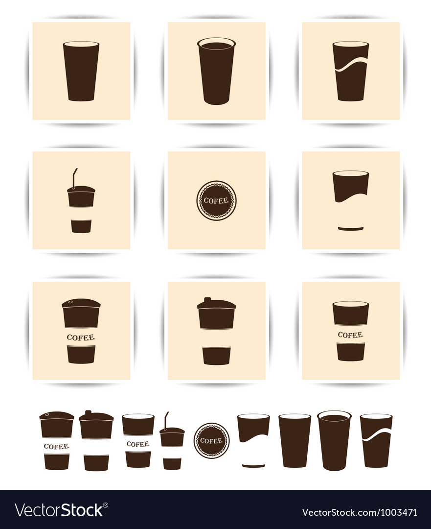 Brown coffee icons set cup cafe icon vector | Price: 1 Credit (USD $1)