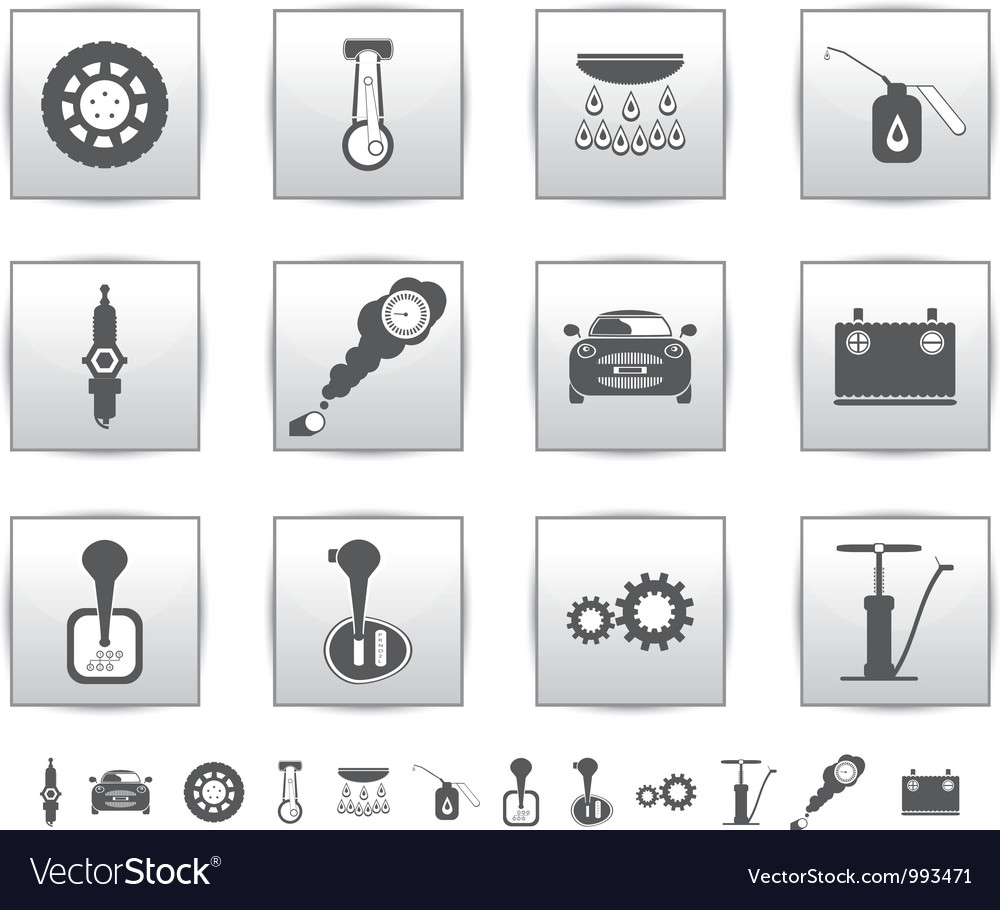 Car set icons auto service square vector | Price: 1 Credit (USD $1)