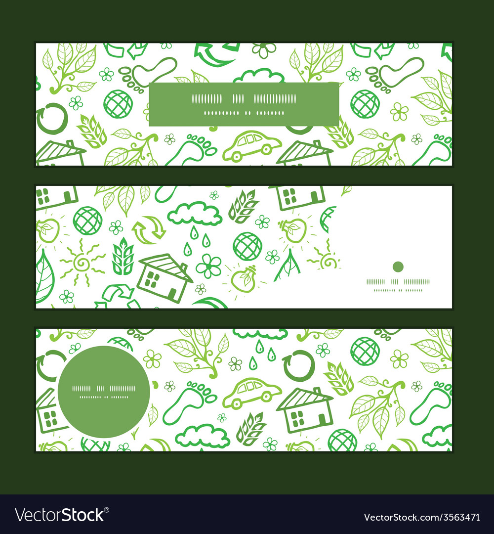 Ecology symbols horizontal banners set pattern vector | Price: 1 Credit (USD $1)