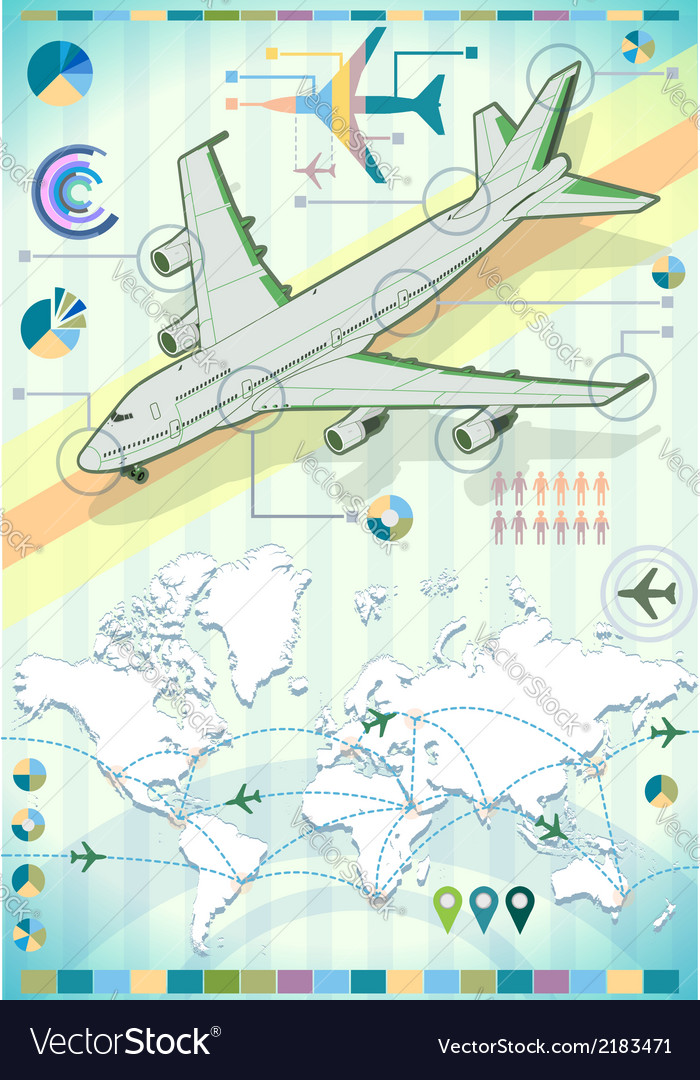 Infographic set elements with airplane vector | Price: 1 Credit (USD $1)