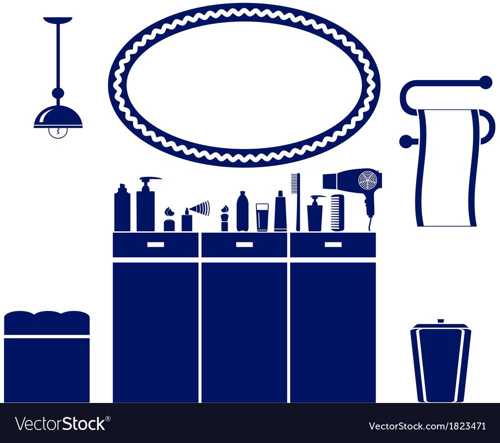 Interior set of bathroom icon vector | Price: 1 Credit (USD $1)