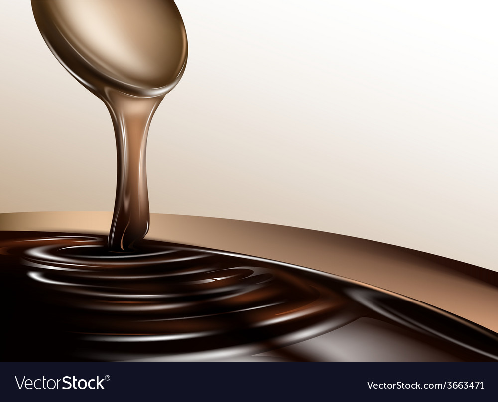 Liquid chocolate dripping from a spoon vector | Price: 1 Credit (USD $1)