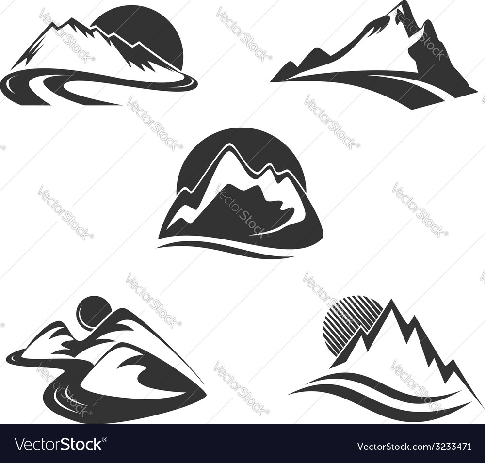 Mountain icons set vector | Price:  Credit (USD $)