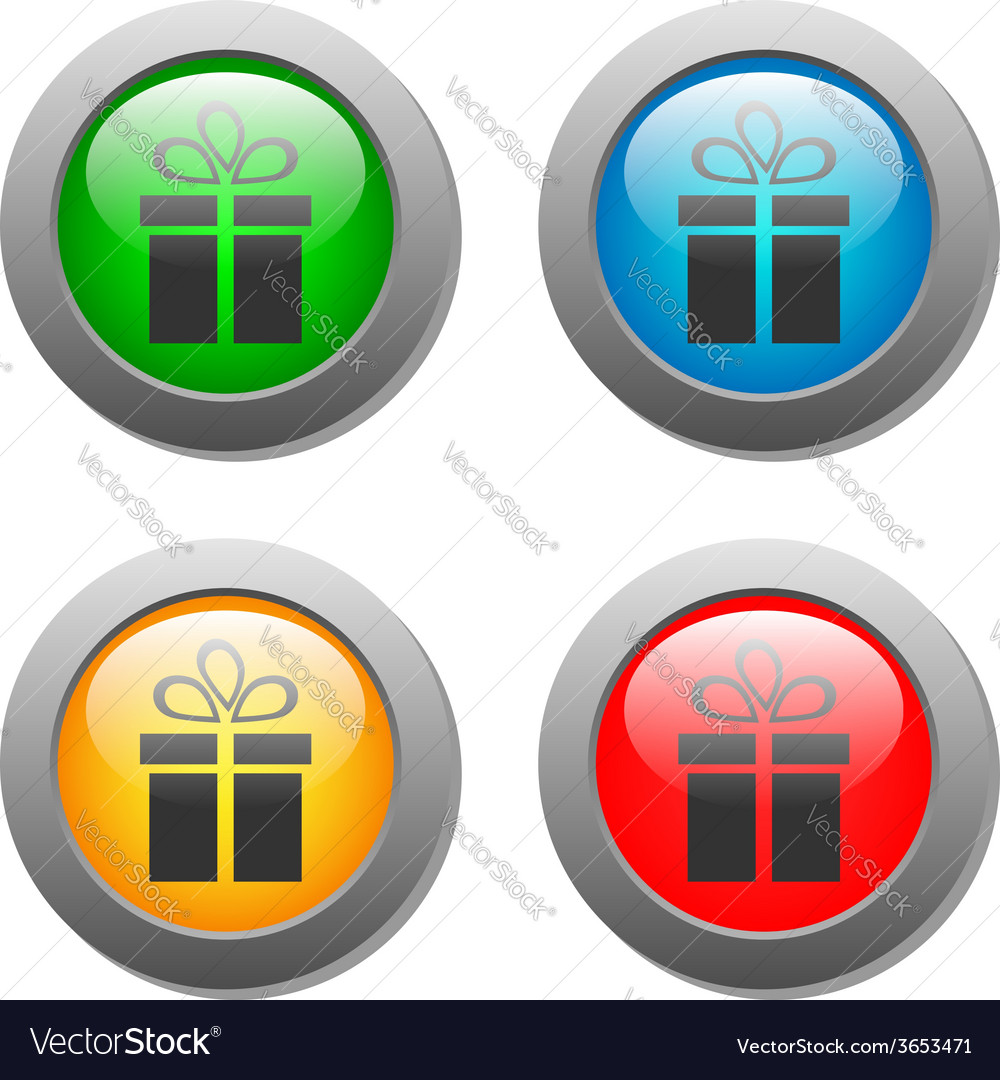 Present icon set on glass buttons vector | Price: 1 Credit (USD $1)