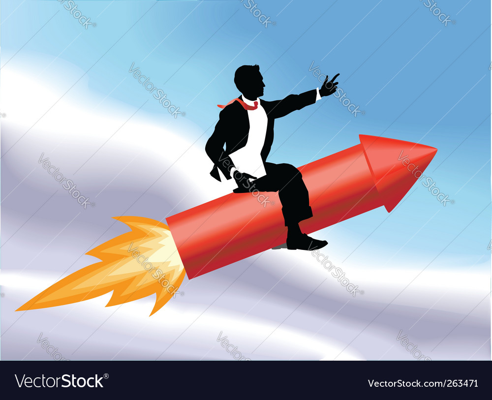 Rocket business man vector | Price: 1 Credit (USD $1)