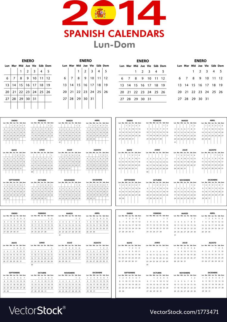 Spanish calendar 2014 vector | Price: 1 Credit (USD $1)
