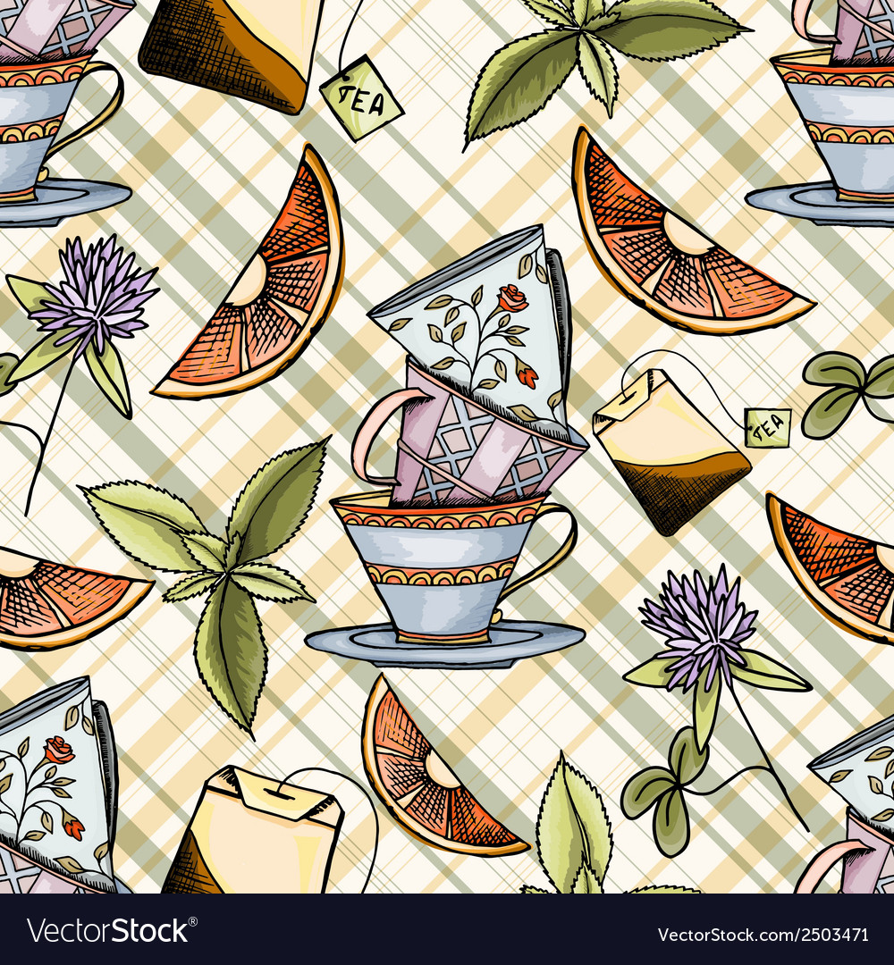Tea time seamless pattern vector   Price: 1 Credit (USD $1)