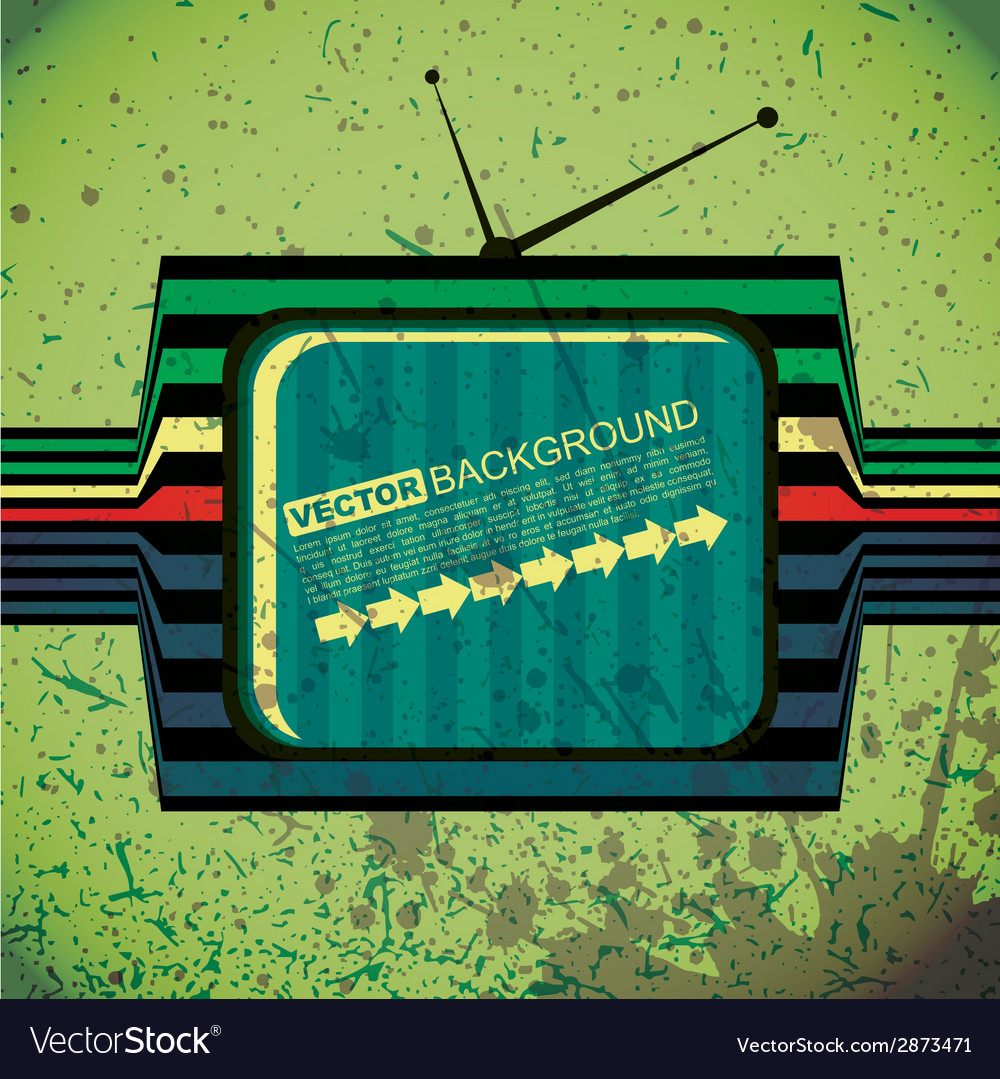 Textured retro tv on grunge background vector | Price: 1 Credit (USD $1)