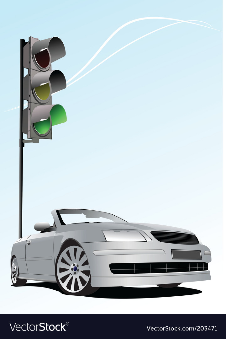 Traffic light and car vector | Price: 1 Credit (USD $1)